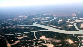 A bird's eye view of the water ways taken from a charter flight into Wiligi